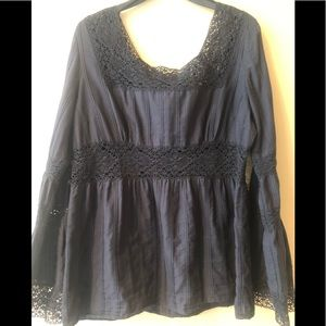 Michael Kors Black Top with Lace & Bell Sleeves.